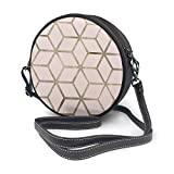 Bandolera redonda de piel auténtica, estilo vintage, con correa ajustable para el hombro, para mujer, color nude perla geométrica