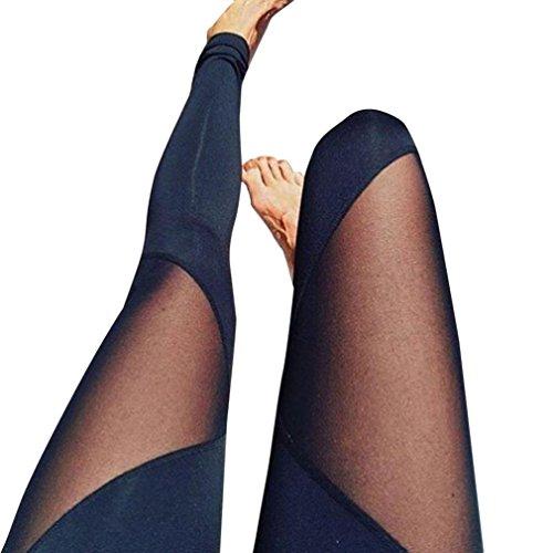 K-youth Pantalón Deportivo de Mujer, Malla para Running, Yoga y Ejercicio Mujer Pantalones elásticos de Yoga Mujer Pantalones Deportivos elásticos y cómodos Mujer Polainas (Negro, M)