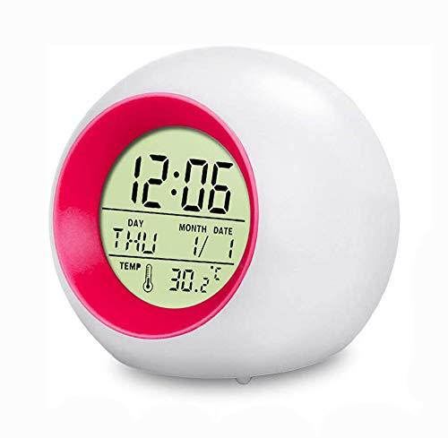 swonuk Digitaler Wecker für Kinder 7 Farben LED Lichtwecker Nachttischuhr Uhr Kinderwecker mit Datum, Schlummerfunktion und Temperatur(Rot)