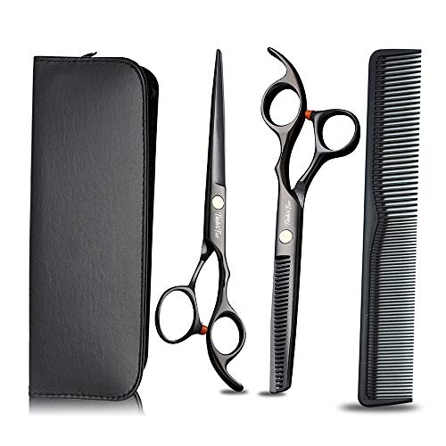 3-delige kappersscharen Set, Hair Comb Leer Schaar Box, Professional Pet Grooming Scissors, Huis kappers instrumenten