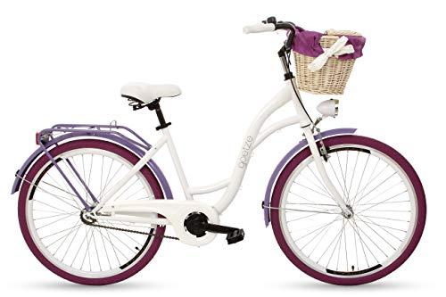 Goetze Style Vintage Retro Citybike Damenfahrrad Hollandrad, 1 Gang ohne Schaltung, Tiefeinsteiger, Rücktrittbremse, 26 Zoll Alu Räder, Korb mit Polsterung Gratis!