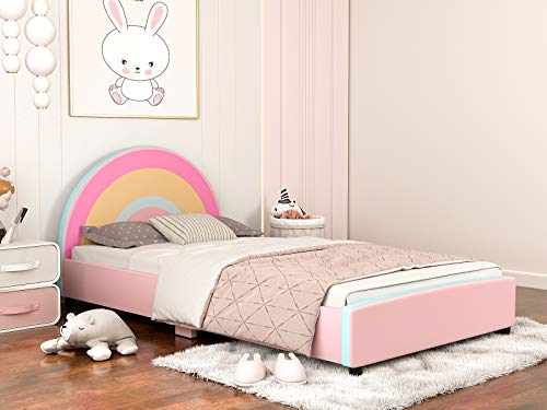 mecor Children Toddler Bed - Twin Size Faux Leather Upholstered Platform Bed Frame with Curved Headboard / Cute Rainbow Kids Bed for Girls, Kids, Teens(Rainbow Design)