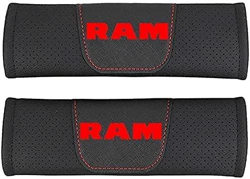 2 Piezas con Auto Logo Almohadillas ProteccióN CinturóN Seguridad para Dodge RAM, CinturóN de Seguridad Correa Hombreras Coche Interior DecoracióN Accesorios