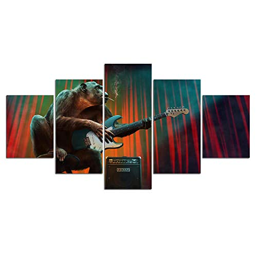 33Tdfc 5 Piezas De Arte Cuadros Decoracion Salon Modernos 5 Piezas Murales Pared XXL Imprimir HD Póster/Fumar Mono Guitarra Música