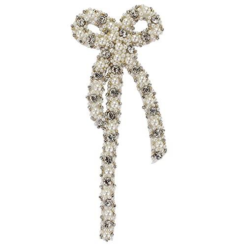 Perlas de cuentas de cristal Motivos hechos a mano grandes de nudo de arco parches coser en apliques decorativos (blanco)