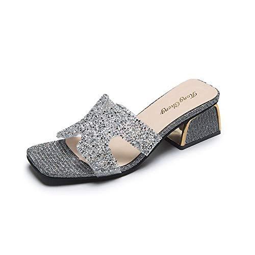 Aerlan PiscinaparaMujerHombre,Summer Rhinestone Slippers Lady Sandals-Silver_37