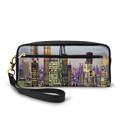 Pencil Case Pen Bag Pouch Stationary,Modern Architecture of Downtown London Center of Global Finance Famous Capital City,Small Makeup Bag Coin Purse