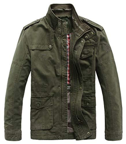 Homme Printemps Automne Veste Militaire Blousons à col Slim Coton Veste Doutillage Mince Zip Manteau Veste Mens Cotton Lightweight Jacket (EU/FR XL, Style-2 Armée Verte)