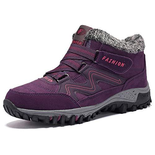 JIANKE Botas de Senderismo Nieve Hombre Mujer Zapatillas de Trekking Antideslizante Invierno Forro Piel Zapatos Morado 41 EU(Tamaño de la Etiqueta 42)