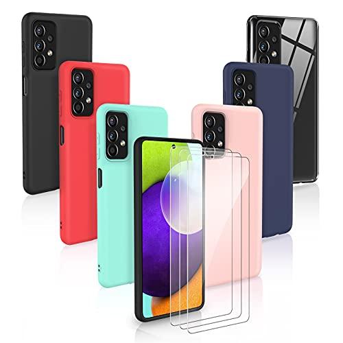 [9 Pack] 6 Funda + 3 Pack Cristal Templado para Samsung Galaxy A72 4G/5G, 6 Unidades Caso Juntas Fina Silicona TPU Flexible Colores Carcasas - Transparente, Negro, Rosa, Azul Oscuro,Menta Verde, Rojo