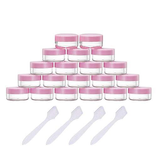 Ealicere 20 Stück 10g/10ml Döschen Plastik Leer,Transparente Klein Kunststoff Tiegel, für Kosmetikdose Lippenbalsam Crème Salben Nagelkunst Döschen Mit 4 Stück Mini Spatel (Pink)