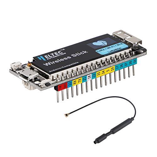 MakerHawk Carte de développement ESP32 avec Support d'écran OLED 0.49 Pouces Lora WiFi Bluetooth BLE Arduino, 240 MHz SX1276 Flash LoRaWAN 64 Bits avec antenne 868/915 MHz pour Une scène Intelligente