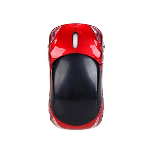 Wireless Optical Mouse, StyleV 2.4GHz 1200DPI Car-Shaped Mouse USB Scroll Mice for Tablet Laptop Computer (red)