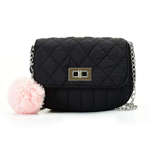 """Cute Purses for Teen Girls Small Purse and Quilted Crossbody bags for Women with Chain Strap, Nylon Lightweight, 8"""" Black"""