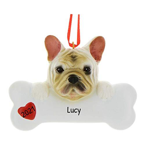Personalized French Bulldog Christmas Tree Ornament 2021 - Frenchie Dog Paw Bone Heart Small Loyal Gentle Best Friend Furever Playful Athletic Fluffy White Cream- - Free Customization