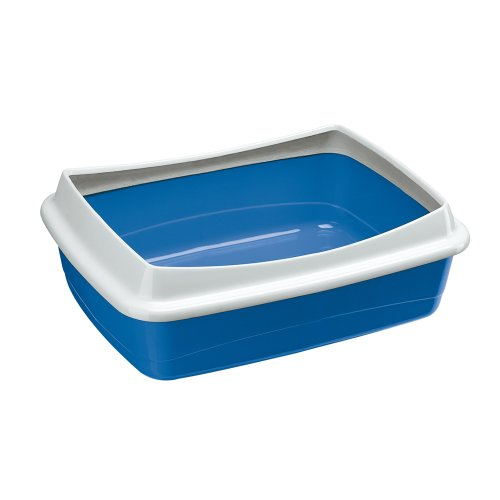 Ferplast 72041299W1 Katzentoilette NIP PLUS 20, offene Katzentoilette, Maße: 55 x 40 x 17,5 cm, blau
