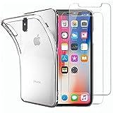 NEW'C Cover per iPhone X e iPhone Xs Gel TPU in silicone ultra trasparente e 2 × vetro temperato per iPhone X e iPhone Xs, Pellicola proteggi schermo