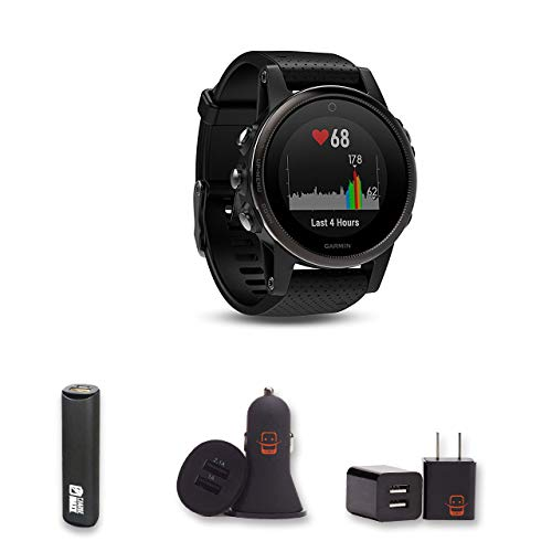 Sale!! Garmin Fenix 5X Sapphire - (Slate Gray/Black Band) Bundle with PowerBank + USB Car Charger + ...