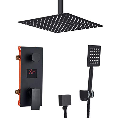 Suguword Unterputz Duschsystem LCD Temperatur-Anzeige Schwarz Matt mit Quadrat 30cm * 30cm 12 Zoll Luxus Duschset mit Decke Installieren Regendusche Kopfbrause Handbrause
