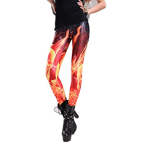 Rubberfashion Leggings Feuer, glänzende Leggin mit Flammenmotiv bis zur Hüfte für Frauen und Mädchen Menge: 1 Stück standard S/M