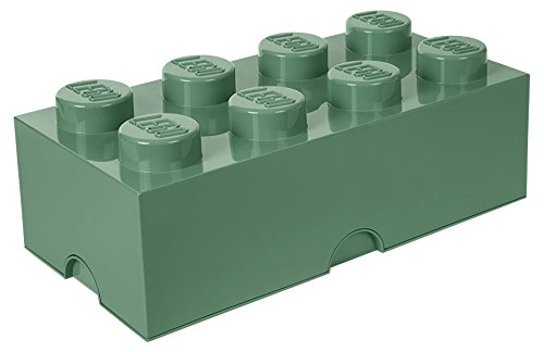 Room Copenhagen 4004 Ladrillo de Almacenamiento de 8 espigas de Lego, Caja de almacenaje apilable, 12 l, Legion/Sand Green, 50 x 25 x 18 cm
