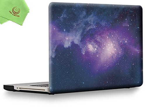 "UESWILL Galaxy Pattern Hard Shell Case Cover for MacBook Pro 13"" with CD-ROM (Non-Retina)(Model:A1278) + Microfibre Cleaning Cloth,Nebula/Purple"