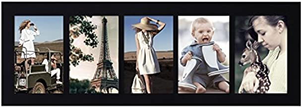 Adeco Decorative Wood Wall Hanging Picture Photo Frame, 5 Divided Openings, 4x6 Inches (Black)