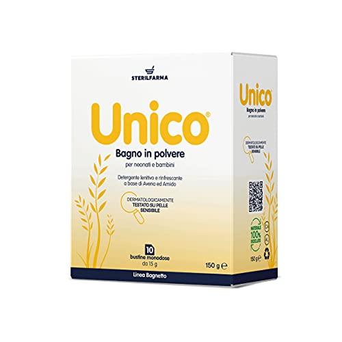 Unico Bagno Polvere - ideale detergente lenitivo e rinfrescante a base di Avena ed Amido di Riso - per pelli sensibili - formula brevettata dal 1997 - per neonati e bambini 10 buste monodose da 15gr