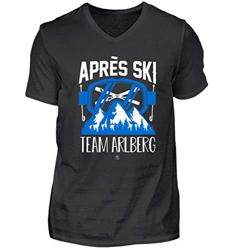 Apres Ski Team Arlberg Südtirol Österreich Kleidung Austria Snowboard Kostüm Herren V-Neck Shirt -XXL-Schwarz