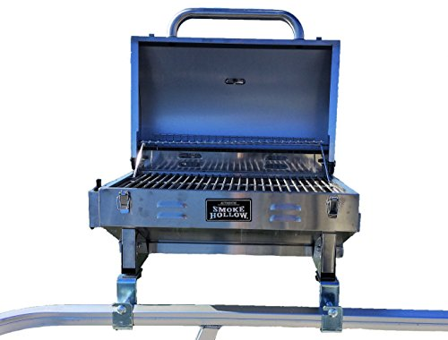 Smoke Hollow Grill Modified for 1.25' Railing on Pontoon Boats w/Arnall's Stainless Grill Brackets.