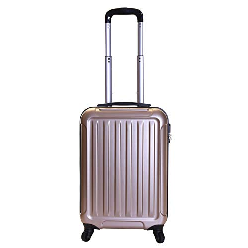 Slimbridge Hard Shell Cabin Carry-on Hand Luggage Suitcase Bag 55 cm 2.8 kg 35 litres with 4 Wheels and Number Lock, Lydd (55 cm, Gold)