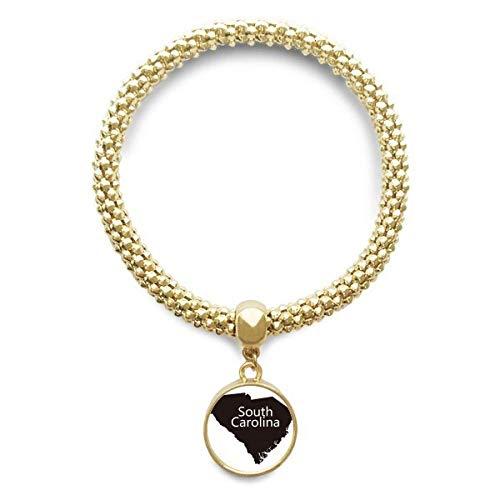 DIYthinker Womens Zuid Silhouette Kaart Amerika VS Gouden Armband Ronde Hanger Sieraden Ketting