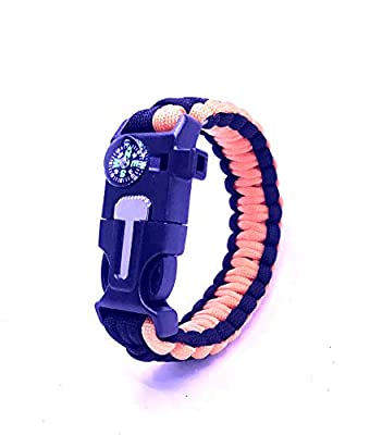Paracord Bracelet – Fire Starter – Loud Whistle – Emergency Knife – Perfect for Hiking, Camping, Fishing and Hunting – Black & Black+Orange