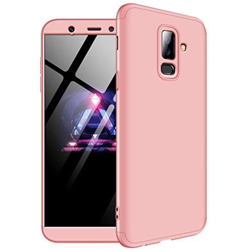 Funda Samsung Galaxy A6 Plus 2018, Ultra Fina 3 en 1 Desmontable Anti-Arañazos Hard PC Carcasa 360° Full-Cover Anti-Choque Protective Funda para Samsung Galaxy A6 Plus 2018 (Oro Rose)
