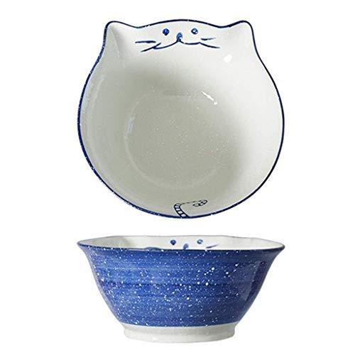 Tazón de cerámica creativa tazón de grano de fideos japoneses, cuenco de fideos instantáneos, cuenco de helado, postre, ensalada, desayuno, fruta (color: azul, tamaño: 16 x 16 x 7,2 cm)