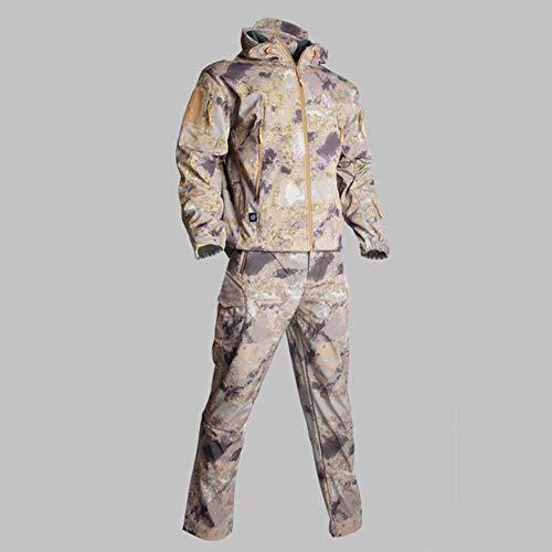 Muchen Tactique Hommes Army Hunting Vêtements de Randonnée Explore Costume Camouflage Peau de requin Softshell Militaire Imperméable à Capuche+Pantalons, G-R,S
