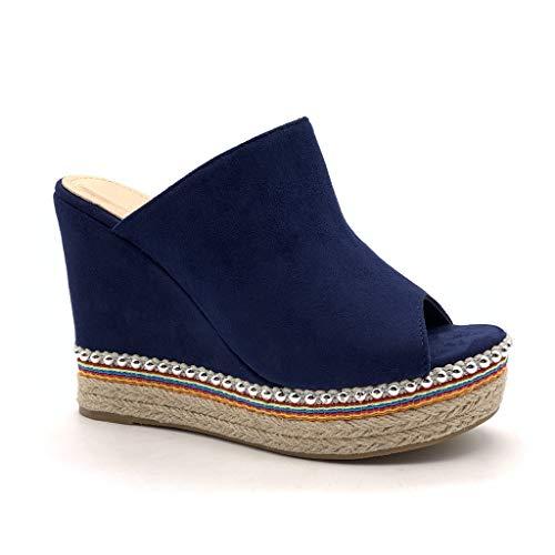 Angkorly - Dames schoenen espadrilles sandalen - Vintage/Retro - Comfortabele - Plateauschoenen - met stro - parel wighak 11,5 cm