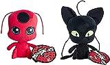 Milagroso: Tales of Mariquita & Cat Noir 2pcs /Set TIKKI & PLAGG Peluche Set Muñeca de Peluche
