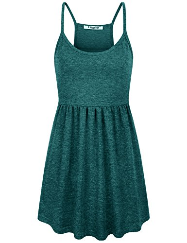 Hibelle Tunic Cami, Summer Clothes for Women Spaghetti Strap Camisole Seamless Thin Tank Vacation Holiday Maternity Sleeveless Shirts Floating Trapeze Peplum Tops Green Medium