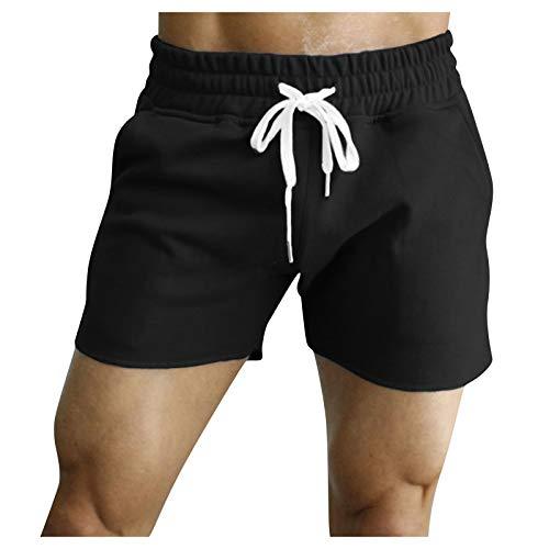 Xjp Herren Kordelzug Walk Short Sommer Casual Fitness Bodybuilding Mit Taschen Sport Shorts Sporthose(Schwarz,3XL)