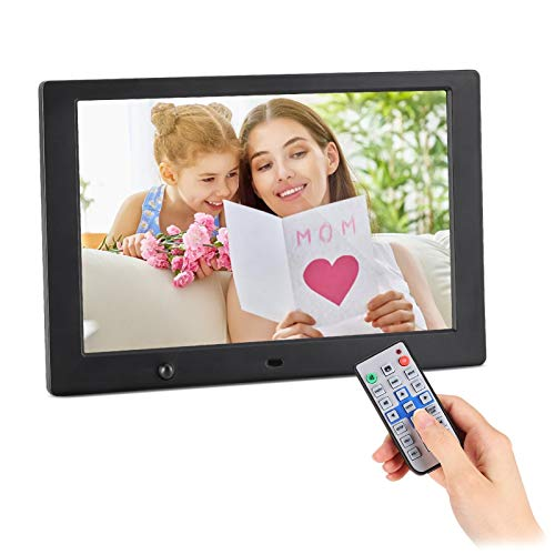 Digital Photo Frame, 10.1 Inch Digital Picture Frame with HD 1024x600 16:10 Full TN Display 1080P Video/Photo/Music/Calendar, Remote Control, Auto On/Off Timer, Background Music, Support USB&SD