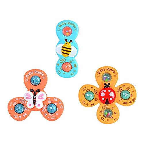 Urisgo Peonza con Ventosa, Juego de 3 Piezas Animal Spin Sucker Spinning Cartoon Insect Spinning Juego Interesante Ventosa Mesa Juguetes de baño para niños