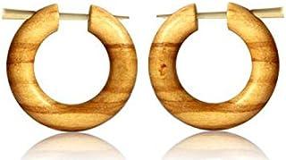 Orecchini a cerchio in legno d'ulivo, con perno in corno chiaro e venature fatte a mano