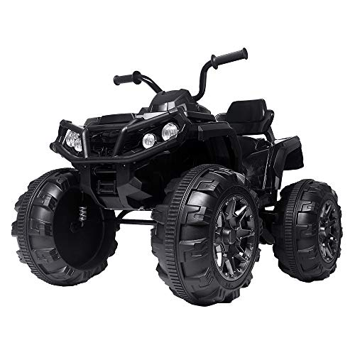 VALUE BOX Coolest Kids ATV 4 Wheeler Ride On Quad 12V Battery Powered Electric ATV Realistic Toy Car with 2 Speeds, Easy Button, Music, Built-in USB, Spring Suspension, LED Lights and Horns (Black)
