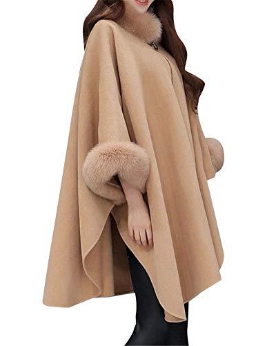 MISSMAOM Mujer Poncho - Chaquetas para Mujers Invierno Abrigo de Capa de Lana Mezcla de Lana con Fur Sintética Camello 3XL