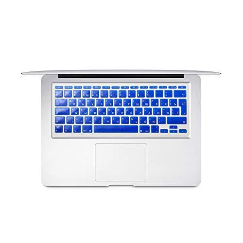 For Mac Book Air 11 inch Russian Colorful keyboard film EU Silicone Keyboard Protector Cover For air11.6 A1465 A1370 RU-Blue-