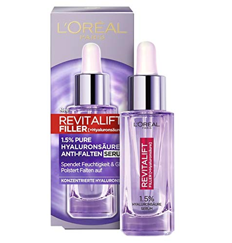 L'Oréal Paris Hyaluron Serum, Revitalift Filler, Anti-Aging Gesichtspflege, Anti-Falten, Mit 1,5% purer Hyaluronsäure und Vitamin C, 30 ml