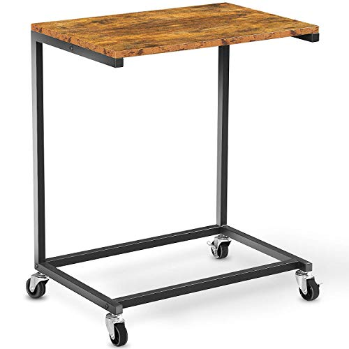 Ohuhu C Shaped Side End Table, Mobile Laptop Table with Optional Adjustable Feet and Casters for Coffee Snack Tablet, Slides Next to Sofa Couch Bed, Vintage Look with Metal Frame, Dark Walnut