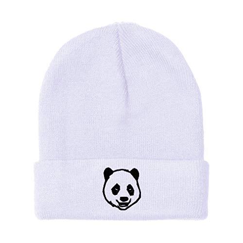 Custom Beanie for Men & Women Panda Bear Face Embroidery Acrylic Skull Cap Hat White Design Only