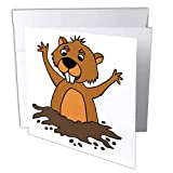 3dRose Greeting Card Cute Funny Groundhog in Hole Cartoon, 6 x 6' (gc_263692_5)